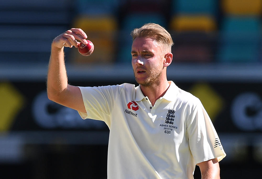 England bowler Stuart Broad during a bowling spell on Day 4 of the First Test match between Australia and England at the Gabba in Brisbane, Sunday, November 26, 2017.