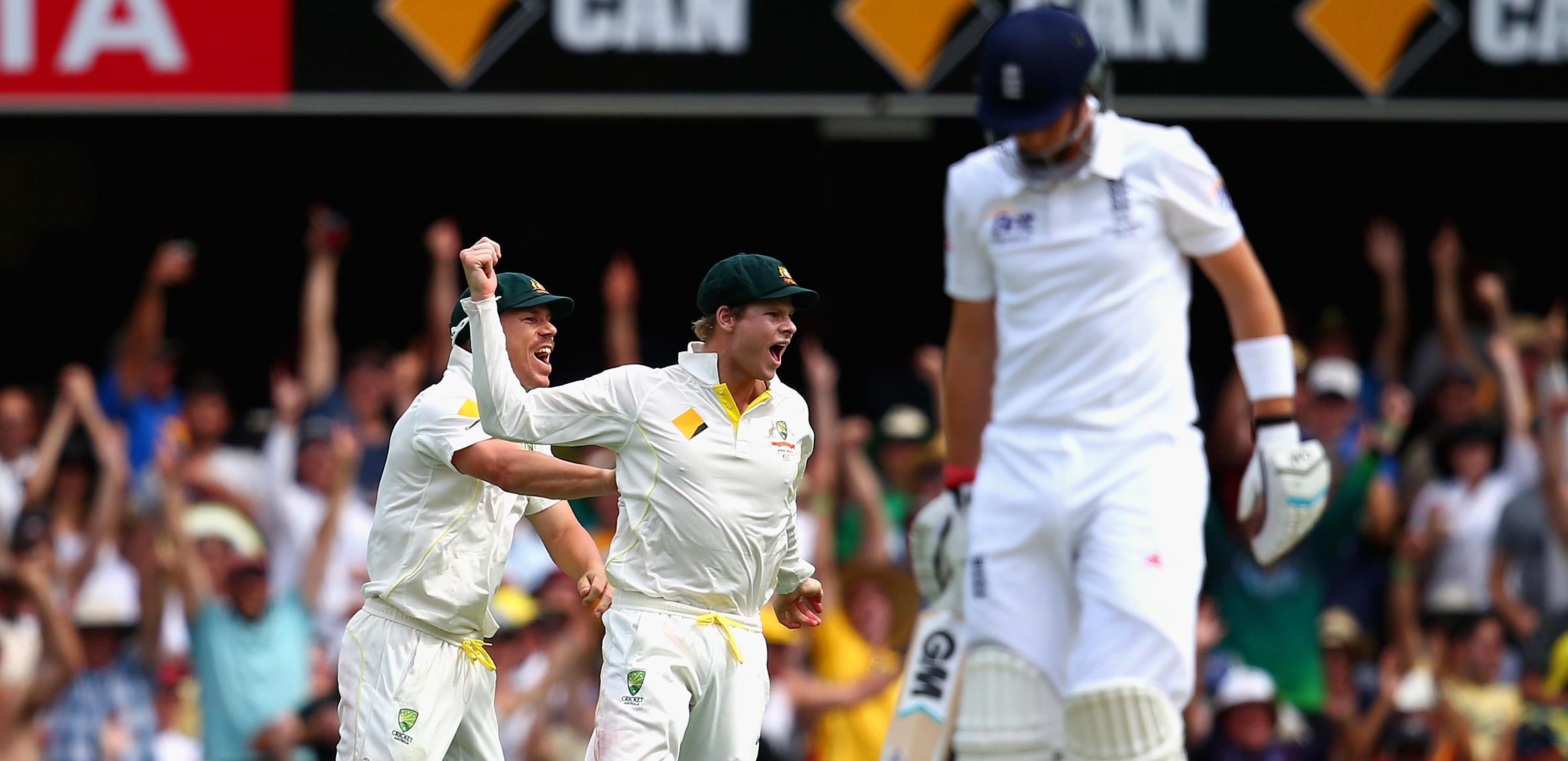 steve smith david warner celebrate joe root wicket
