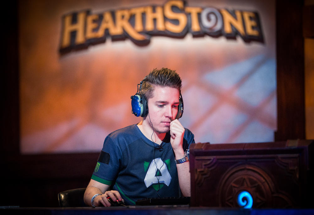 "Hearthstone player Jon ""Orange"" Westberg ponders his next move at the Championship Tour in Amsterdam."