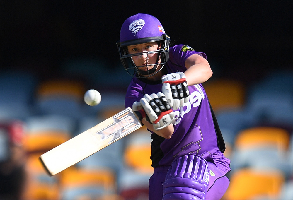 Hurricanes batter Emma Thompson plays a shot during the Women's Big Bash League (WBBL) T20 semi-final match between the Sydney Sixers and Hobart Hurricanes at the Gabba in Brisbane, Wednesday, Jan. 25, 2017. (AAP Image/Dave Hunt)